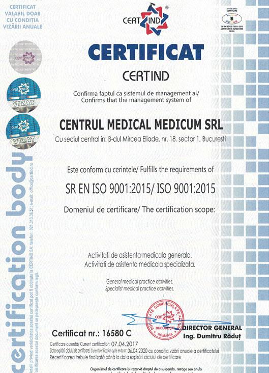Clinica Medicum - Sistem de management certificat ISO 9001:2015
