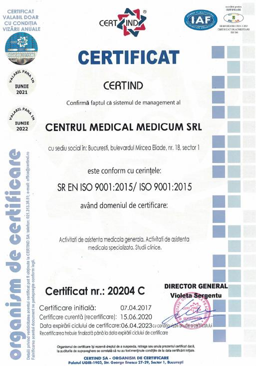 Clinica Medicum - Sistem de management certificat ISO 9001:2020